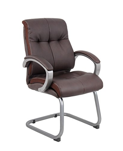 Boss Office Products B8779P-BN Double Plush Guest Chair in Bomber Brown Brown Bomber Leather Executive Chair