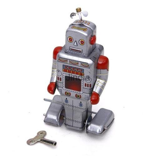 Shalleen Vintage Retro Style Wind Up Robot Silver Grey Tin Toy Collectible Gift w/ Key