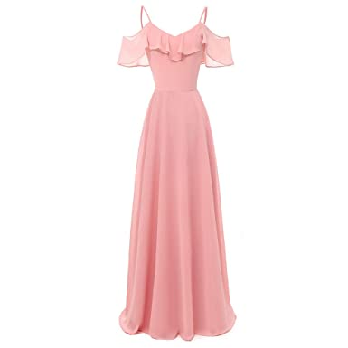 Kleid Damen Kolylong Frauen Elegant V-Ausschnitt Ärmellos Kleid Lang  Vintage Schulterfrei Rückenfrei Maxikleid Chiffon Swing Kleid Hochzeit  Brautjungfer ... d8b458c924