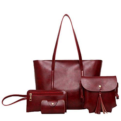 Sac Exquisite Pcs Red tout Fourre Main Main Sacs Set à 4 à Handle Simple Bandoulière Sac à Womens Top 45qwT0Tx