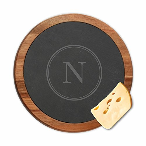Personalized Direct Custom Initial Round Slate Cheese Board Platter Serving Tray w//Wooden Border