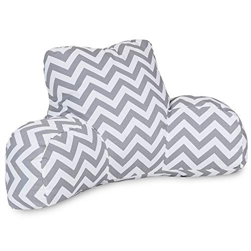 Majestic Home Goods Chevron Reading Pillow, Gray