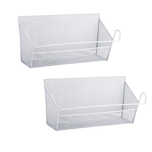 - RuiyiF 2 Pack Bunk Bed Storage Basket,Dormitory Bedside Storage Baskets Metal Desk Corner Organizer Hanging with Hook for Books Phones Tissues Water Bottle (White)