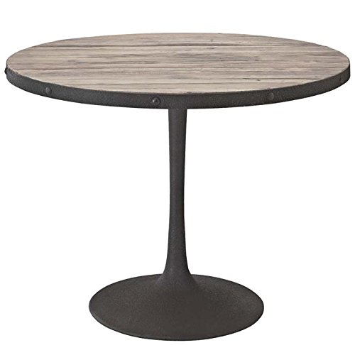 ound Pedestal Wood and Iron Dining Table in Brown ()