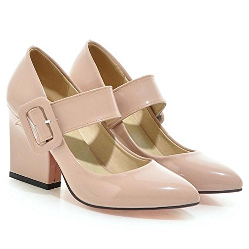 TAOFFEN Women's High Heels Mary Jane Shoes apricot 6NlECbh