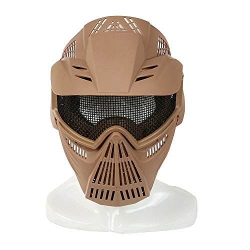 YASHALY Paintball Masks, Adjustable CS Military Tactical Gear Full Face Airsoft Mask with Mesh Eye Protection for Shooting Hunting Cycling Motorcycle (Tan) ()
