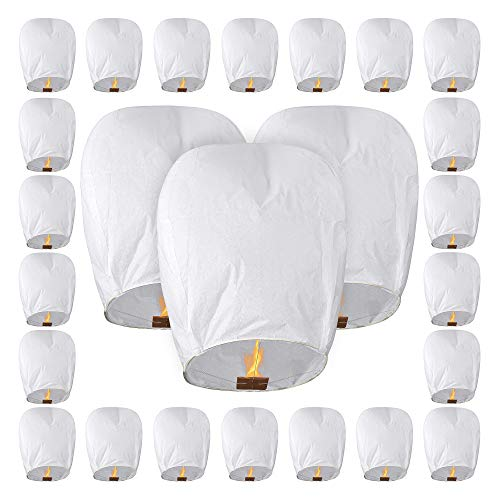 All Natural Shop 25 Pack Chinese Sky Lanterns - White, Eco Friendly, 100% Biodegradable. Wire-Free Paper Japanese Prime Lantern To Release In Sky.