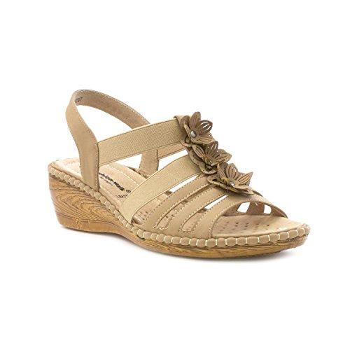 Cushion Walk Womens Beige Leather Comfort Sandal Beige Te8h39