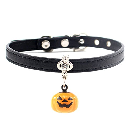 MayAi Halloween Adjustable Leather Cat Collar with Pumpkin Bell and Bling Rhinestone for Kitty, Puppy, Small Dogs (Rhinestones Pumpkin)