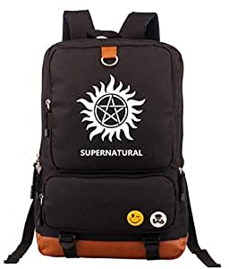 Supernatural series high-end quality fashion brown canvas backpack for women and men-b038