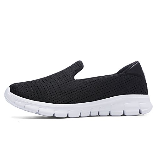 Mesh Walking Black Hiking Athletic Women's Casual Loafers Slip Shoes on Sport Breathable fereshte 3908 YSzwOxO