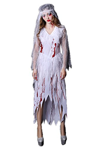 Sexy Ghost Costume - Halloween Horrible Bloody Nurse Doctor Cosplay Costume Scary Dead Ghost Bride Uniform (One Size, -