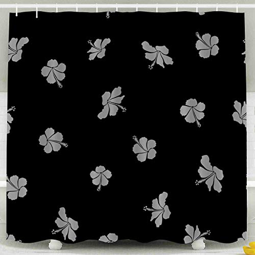 ROOLAYS Funny Shower Curtain,Shower Curtain, Pattern Hawaiian Shirt in Gray Colors Black Background a Waterproof Decorative for Home Décor 78x72 Inch Bathroom Fabric Shower Curtains