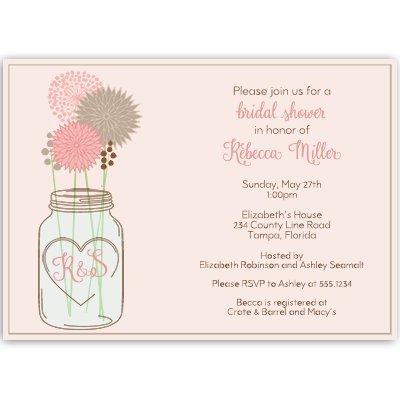 bridal shower invitations mason jar shades of pink rose gray grey