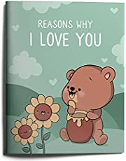 Cute Anniversary Birthday Gifts, Reasons Why I Love You for Him Her Couple, Illustrated Fill-in-The-Blanks Book Journal