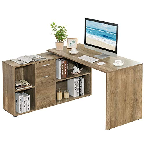 Tangkula Free Rotating L-Shaped Corner Desk, Home Office Desk Wood Computer Workstation, Left or Right Installed Desk, Space Saving Computer Desk with Storage Shelves Natural