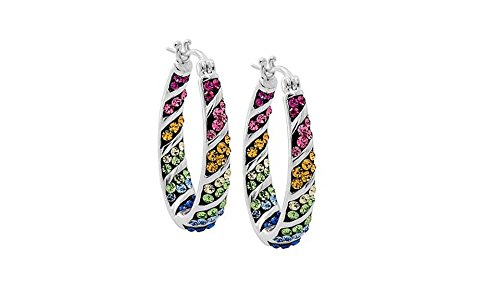 Womens Crystal Inside Out Oval Shape Hoop Earrings, Fashion Hoop Earrings For Women, Womens Hoop Earrings (RAINBOW 2)