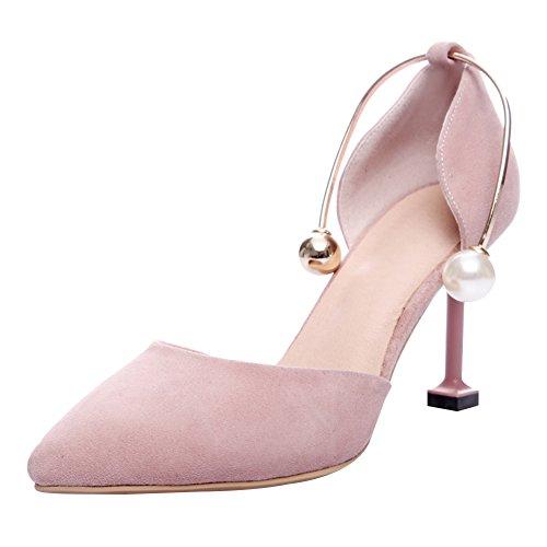 Jamron Women Classy Sheepskin 5.5cm/8cm Stiletto Heel Two-Piece Pumps Elegant Dress Shoes with Delicate Pearls Pink-8cm
