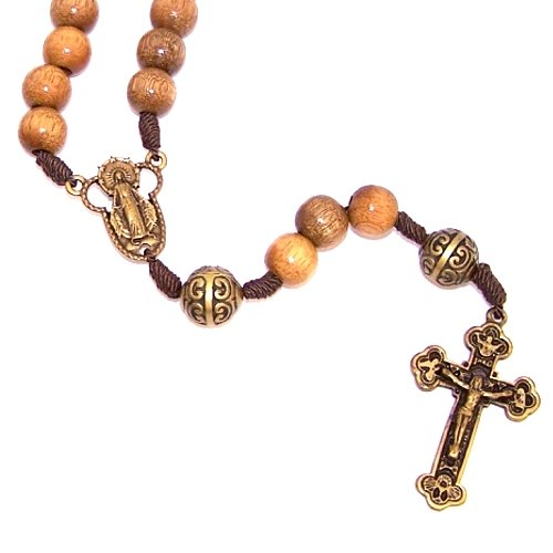 A Wooden Rosary with a Bronze tone center and a special Crucifix (10mm beads (Wood Tone Crucifix)