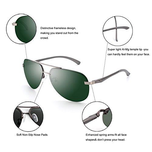 de polarizadas gafas resorte CGID Al de para Pistola duplicadas Hombres Mujeres Prima de Mg Verde completas sol de aleación GA61 bisagras gafas UV400 Pilot C sol TwvUqwf6W