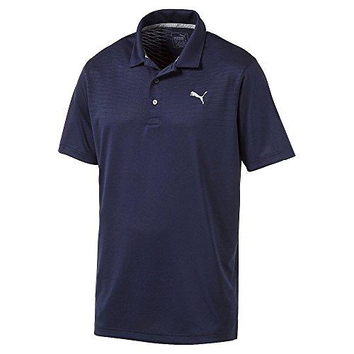 (PUMA Golf Mens Body Map Jacquard Polo, Peacoat, X-Large)