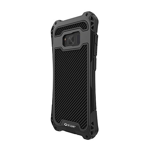 Docooler Serie R-JUST AMIRA Caja del Teléfono del Tri-prueba del Metal 360 Grados Llenos Protegen La Contraportada con Protector de Pantalla de Cristal Templado para Samsung Galaxy S8 Plus Black