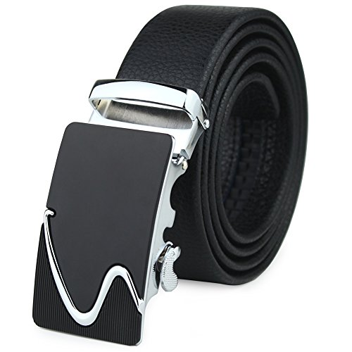 Men's Leather Ratchet Dress Belt Automatic Sliding Buckle With A Gift Box Black (Braided Snap Belt Strap)