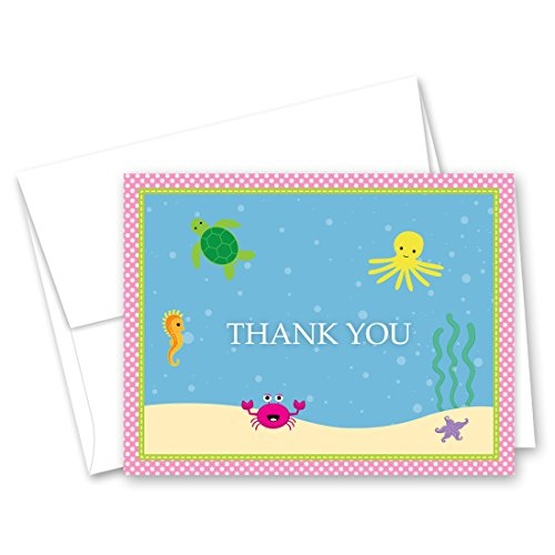 50 Cnt Under the Sea Pink Polka Dot Border Baby Thank You Cards