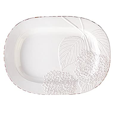 Mud Pie Hydreangea Platter, White