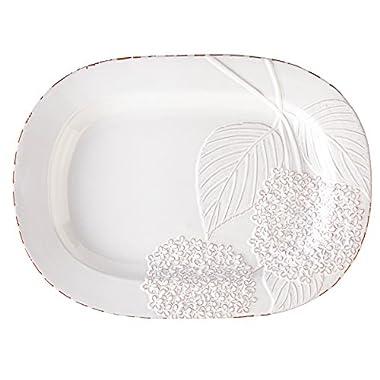 Mud Pie Hydreangea Platter, White