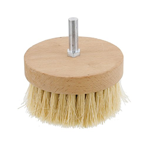 "US Art Supply 4"" Wide Chalk and Wax Buffing Brush with 3/8"" Drill Arbor - Unique Beechwood Base Design Prevents Water Damage, All Natural 1-1/4"" Bristles from US Art Supply"