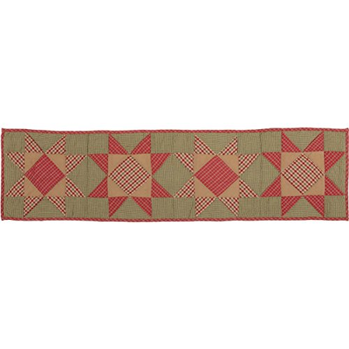 (VHC Brands Primitive Holiday Tabletop & Kitchen-Dolly Star Quilted Runner, 13