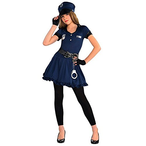 Amscan Cutie Cops and Robbers Party Policewoman Costume (7 Piece), Navy Blue/Black, Large (12-14) - Girls Cop Costumes