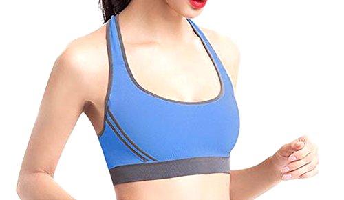 Fulok Women's No Underwire High Impact Crossback Sport Bra Dark blue Large