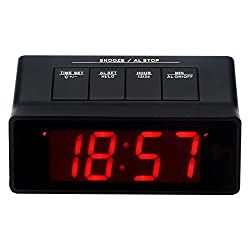 Kwanwa Battery Operated/Powered Only Extra Loud Alarm Clock For Heavy Sleepers with Big 1.2'' Red LED Time Display