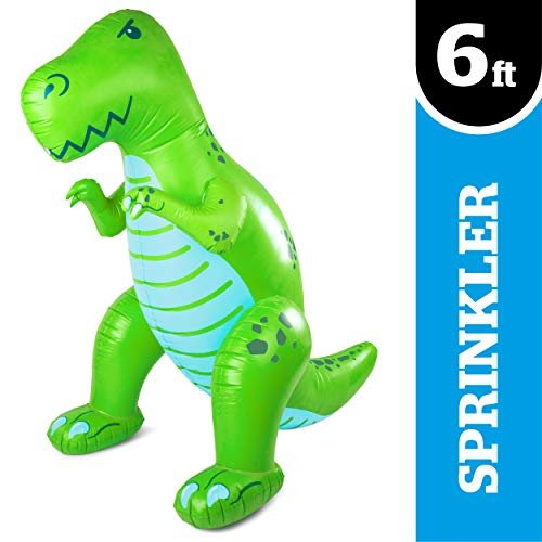 BigMouth Inc. Ginormous Inflatable Green Dinosaur Yard Summer Sprinkler, Stands Over 6 Feet Tall, Perfect for Summer Fun