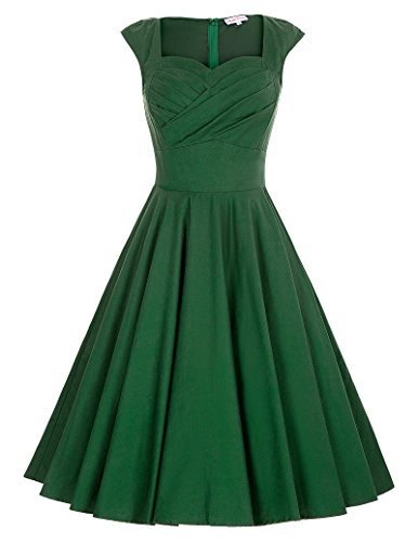 Short 1940s Vintage Dress Pleated Bodice Green Size S (1940s Green)
