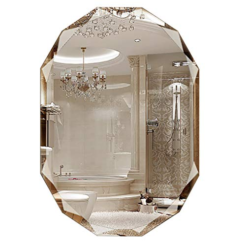 (Bathroom Mirrors Oval Wall-Mounted Vanity Mirror Frameless Diamond Bevel Makeup Mirror for Bathroom Washroom Livingroom Hallway)