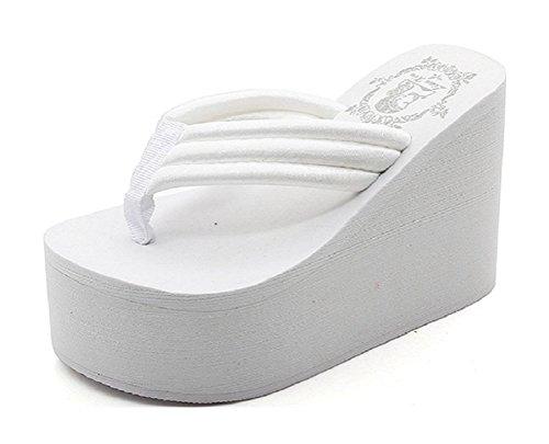 Always Pretty Women's Flip Flops Wedge Sandals Platform Thongs White-11cm US 8