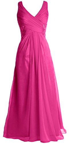 MACloth Women V Neck Lace Chiffon Long Prom Dress Formal Evening Party Gown  Fuchsia