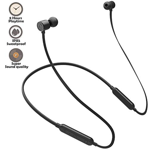 Bluetooth Headphones Wireless Earbuds 4.1 Magnetic Bluetooth Earphones Lightweight Headsets with Mic for in-Ear Sports Headphones for Running(8 Hours Play Time, Noise Cancelling, Sweatproof)-Black