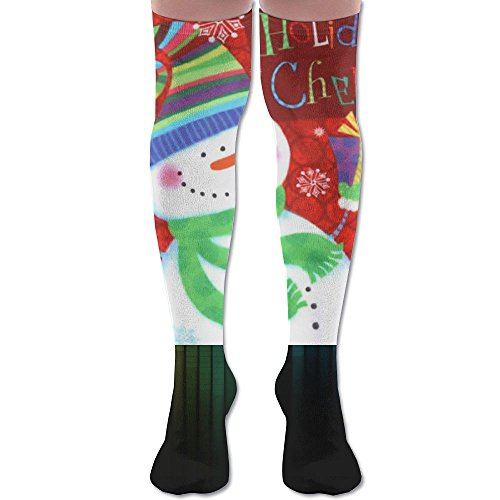 Christmas Decorative Snowman Over Knee High Socks Sports Athletic Casual Tube (6 Foot Wax Wood)