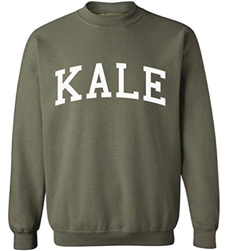 (Awkwardstyles Women's Kale Crewneck Vegetarian Organic Sweatshirt W + Bookmark S Military Green)