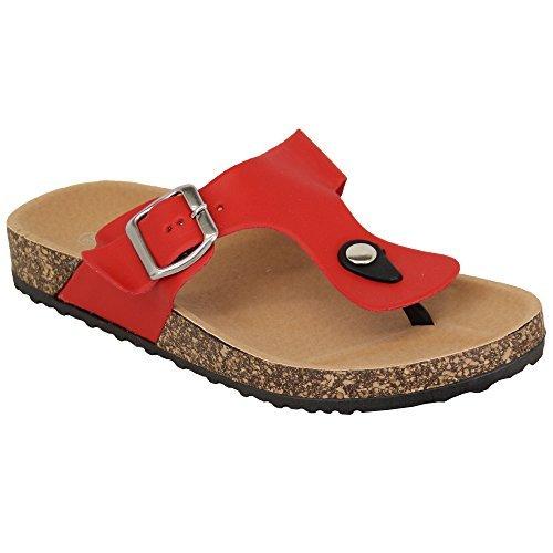 Bukcle Flat Slip Flops Mule Womens New Post FD7 Sandals Red Summer LOVIT Toe Flip on Ladies zAq5PwY
