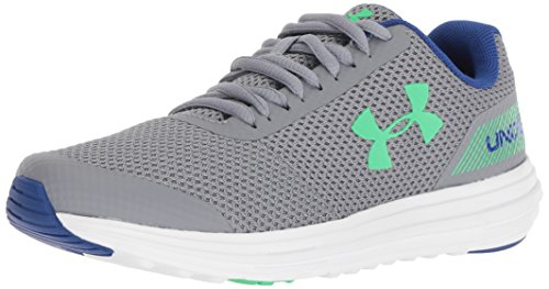 Under Armour Boys' Grade School Surge RN Sneaker, Steel (102)/White 4.5 by Under Armour (Image #1)
