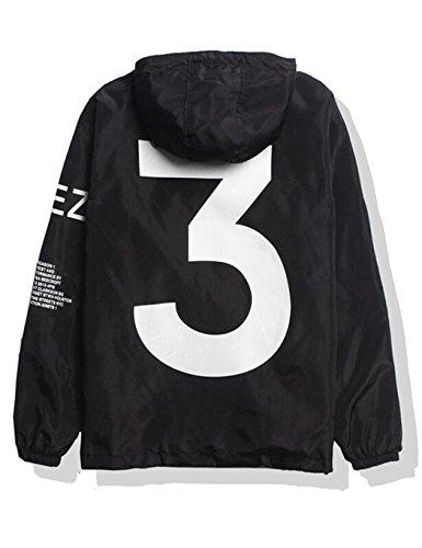 Bifast Boys Yeezy 3 Windbreaker Lightweight Rain Jacket Outdoor Sport Windbreaker Black XL