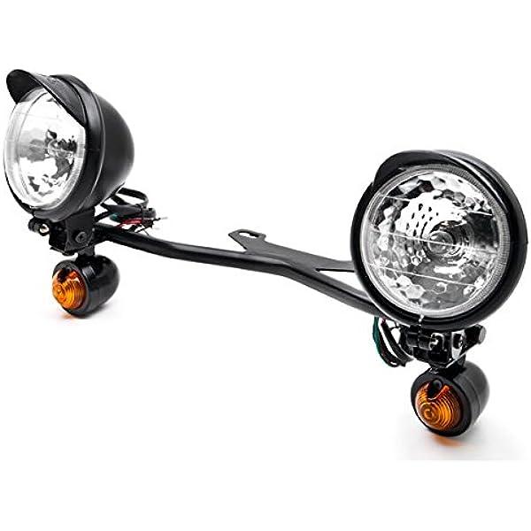 Krator 2pcs Black Heavy Duty Motorcycle Turn Signals Finned Grill Scalloped Blinkers For Yamaha V-Star Vstar V Star XVS 1100 Silverado