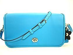 Coach Glove-tanned Leather Turnlock Shoulder/Crossbody Sv/Azure (Bright Blue) 38495