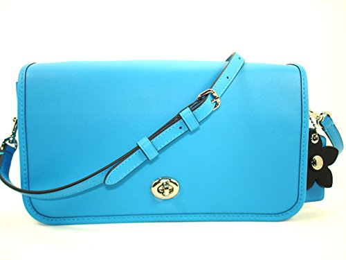 Blue Leather Glove Coach Turnlock 38495 tanned Bright Shoulder Crossbody Sv Azure ffp1nxRBz