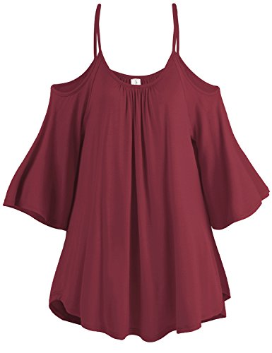 Spaghetti Strap Cold Shoulder Tunic Tops, 003-Wine, US M